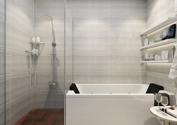 PRATIKIZ MIMARLIK/ ARCHITECTURE Modern bathroom Ceramic Grey