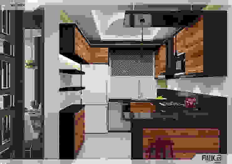 Mutfak PRATIKIZ MIMARLIK/ ARCHITECTURE Küçük Mutfak Orta Yoğunlukta Lifli Levha Siyah