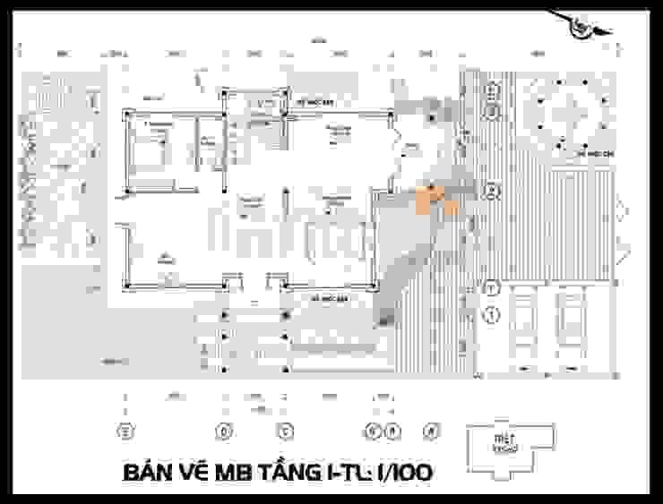Bản vẽ phương án mặt bằng tầng 1 bởi Công ty TNHH TKXD Nhà Đẹp Mới Châu Á