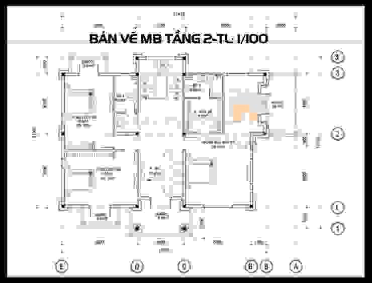 Bản vẽ phương án mặt bằng tầng 2 bởi Công ty TNHH TKXD Nhà Đẹp Mới Châu Á