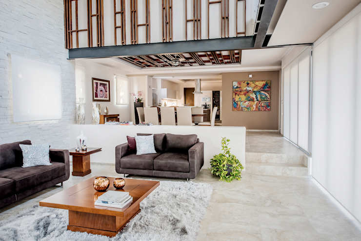 Sala de estar y comedor Salas modernas de Constructora e Inmobiliaria Catarsis Moderno Madera Acabado en madera