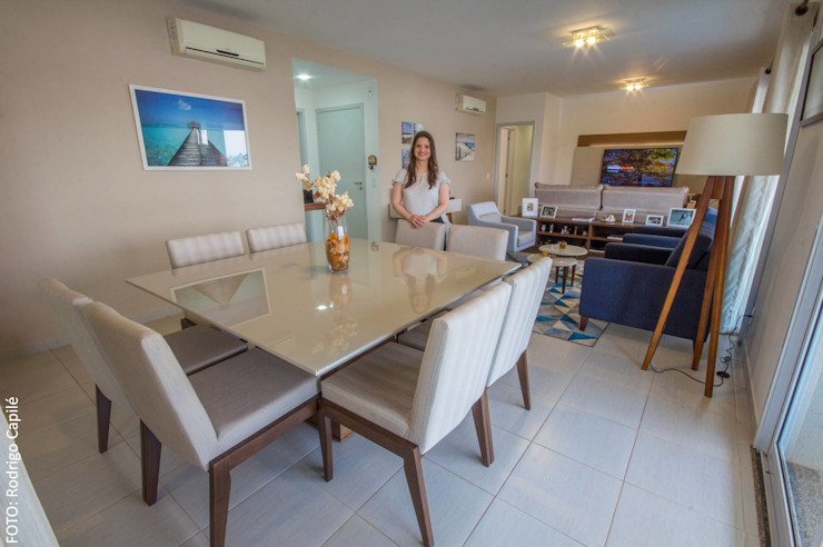 Área social - Apartamento contemporâneo Modern dining room by Camarina Studio Modern