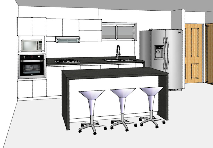 Cocina integral con isla Cocinas modernas de Remodelar Proyectos Integrales Moderno Granito