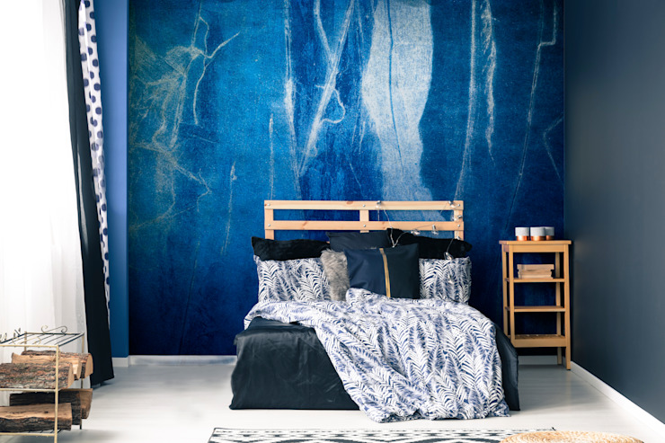 The Big Blue Pixers Modern style bedroom Blue