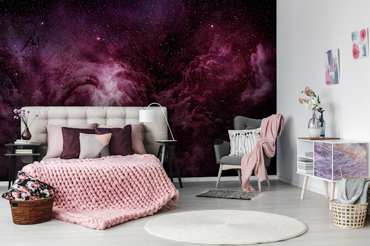 Purple Galaxy Pixers Modern style bedroom Purple/Violet