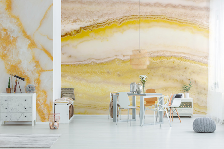 Yellow Stone Wall Minimalist dining room by Pixers Minimalist