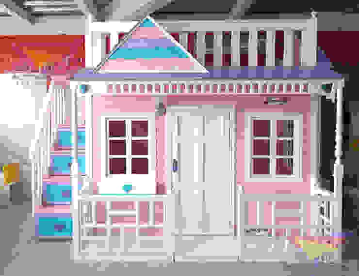 Preciosa casita celstial rosa y azul de camas y literas infantiles kids world Clásico Derivados de madera Transparente