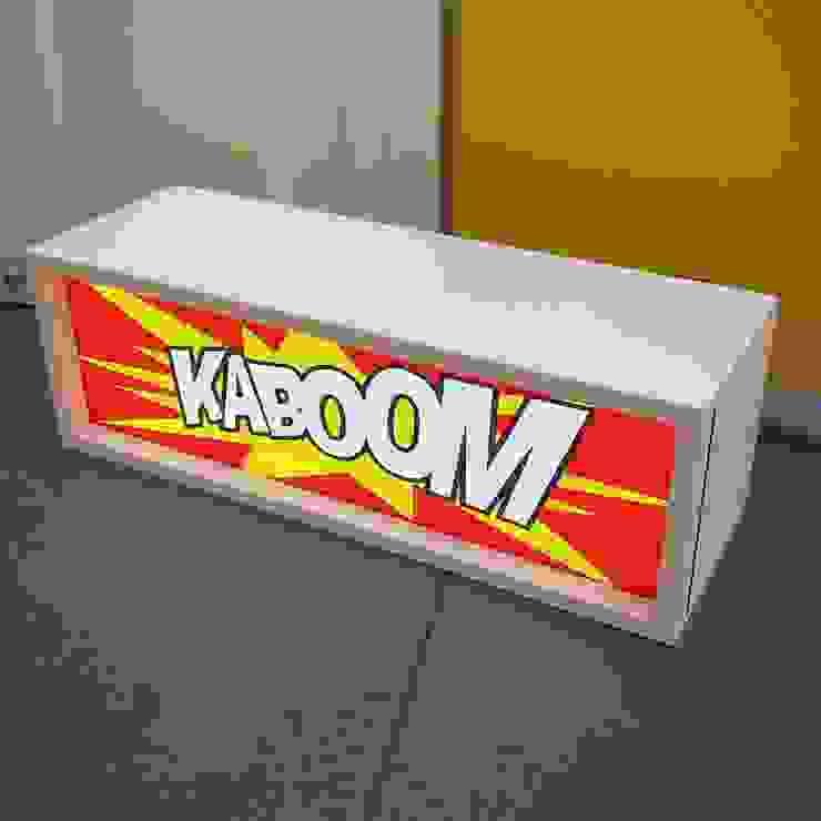 Cartoon Lightbox Retro Illuminated Wooden Display Box LED Vintage Light Up Wall Sign Night Lamp de Vintagist.com Rústico