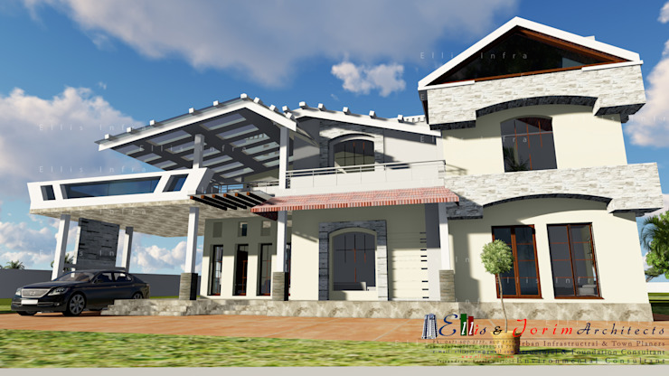 Residential Asian style living room by Ellis & Jorim Architects Asian Bricks