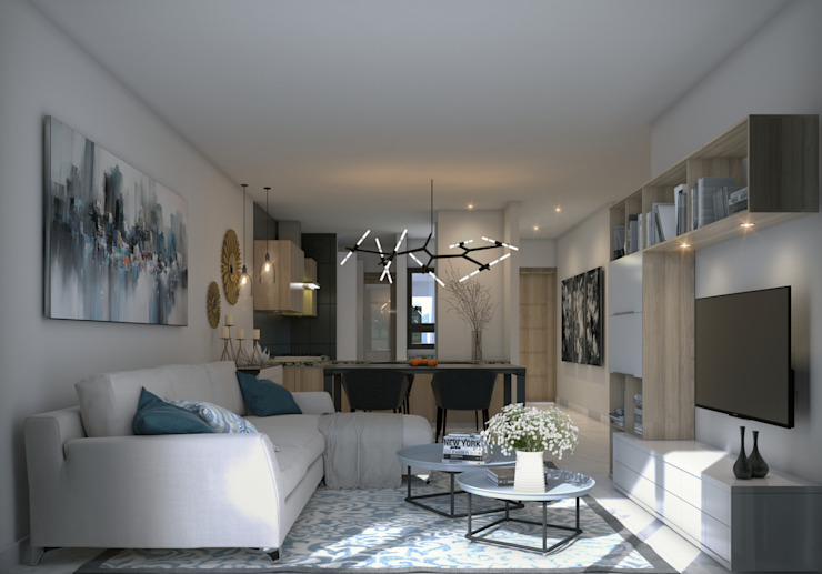 Vista Sala y Comedor Livings de estilo moderno de Fi Arquitectos Moderno Cerámico