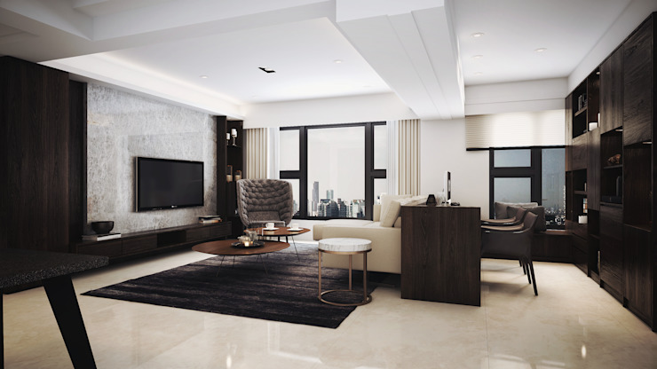Salones de estilo moderno de 棠豐室內裝修設計工程有限公司 Moderno