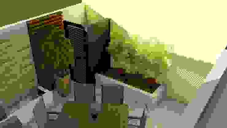 Área de guardado al aire libre y remate visual Jardines de estilo moderno de homify Moderno