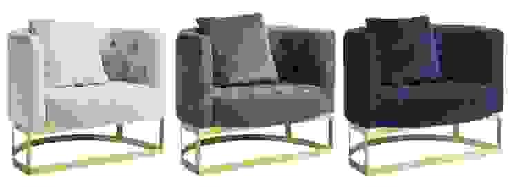 Loungesessel Samt grau, creme-weiß, blau von MATZ-MÖBEL Minimalistisch