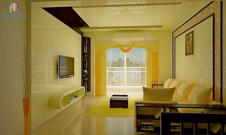 Sobha City, 3 BHK - Mr. Agrawal:  Living room by DECOR DREAMS,