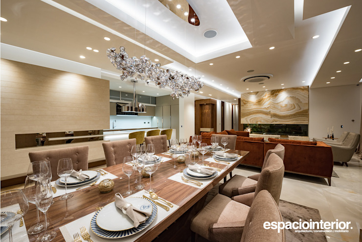 EspacioInterior Eclectic style dining room Wood Wood effect