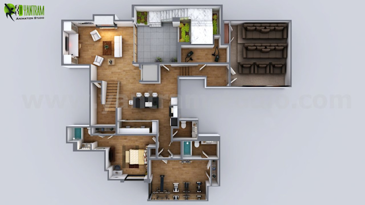 3D Modern Floor Plan Residential Design Boston USA por Yantram Architectural Design Studio