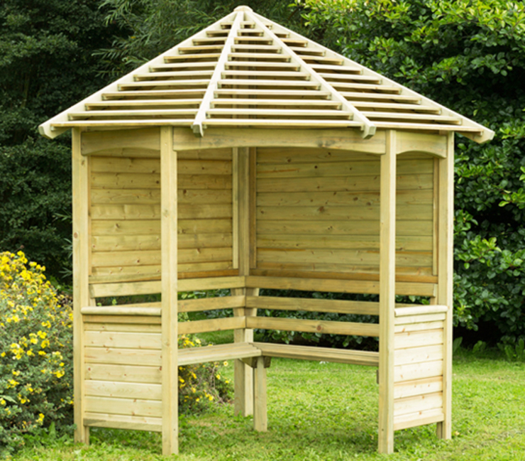 This arbour provides a good level of protection from our great British weather van Wonkee Donkee Forest Garden Mediterraan Hout Hout