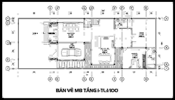 Bản vẽ phương án tầng 1 bởi Công ty TNHH TKXD Nhà Đẹp Mới Châu Á