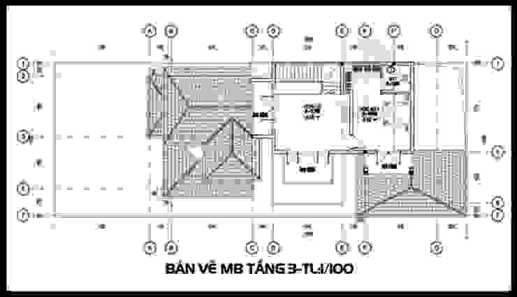 Bản vẽ phương án tầng 3 bởi Công ty TNHH TKXD Nhà Đẹp Mới Châu Á