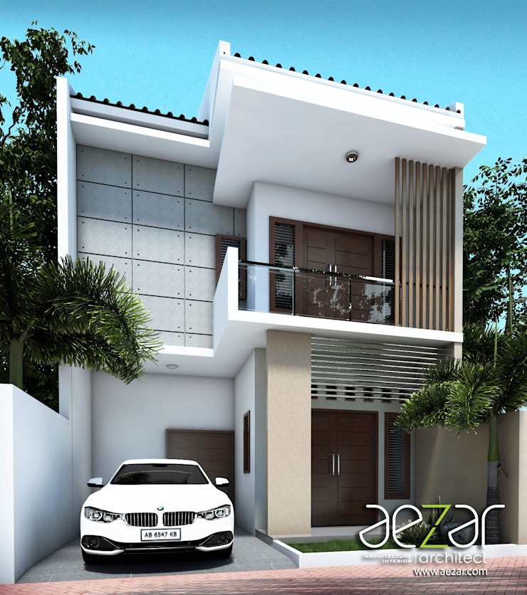 Small Minimalist House Aezar Architect Rumah tinggal Batu Bata Brown