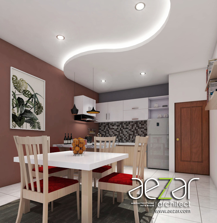 Small Minimalist House Aezar Architect Ruang Makan Minimalis Batu Bata Brown