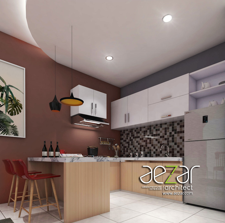 Small Minimalist House Aezar Architect Dapur built in Komposit Kayu-Plastik Brown