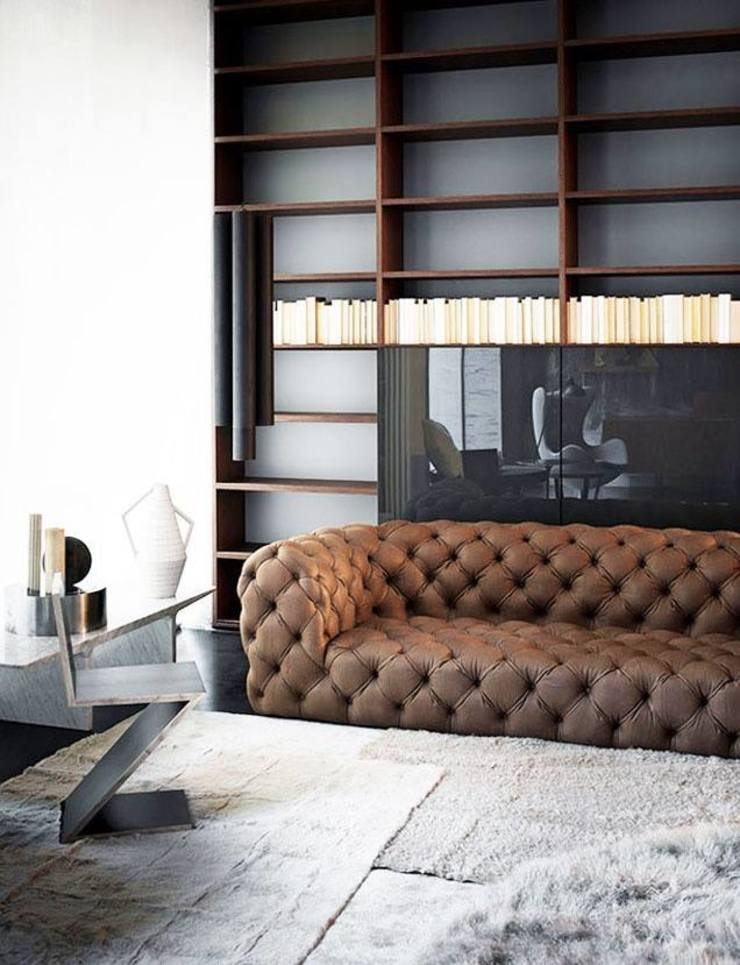 A Modern Book Shelf Study: modern  by Spacio Collections,Modern Textile Amber/Gold