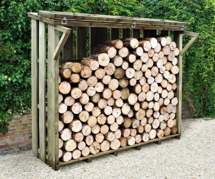 Large Flip Top Log Store par Wonkee Donkee Forest Garden Rustique