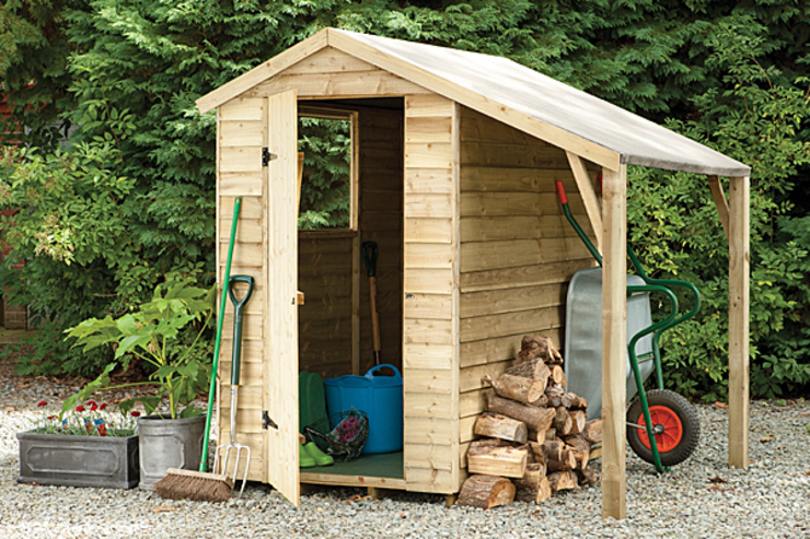 Shed with Lean-To:  Garages & sheds by Wonkee Donkee Forest Garden