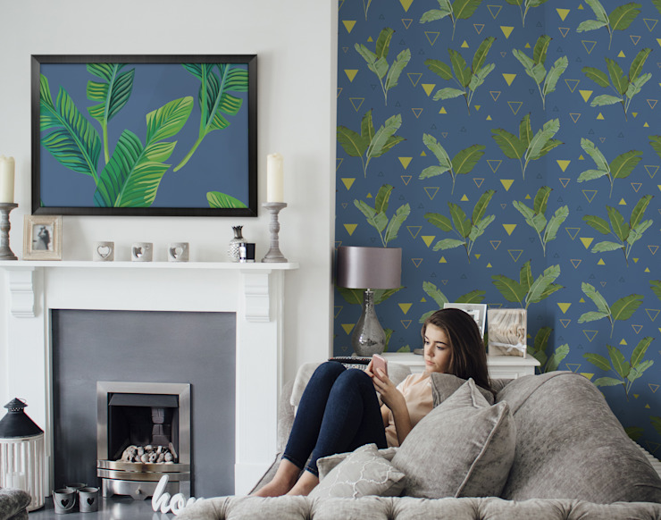 GEOMETRY AND NATURE Share Pixers Living room Blue
