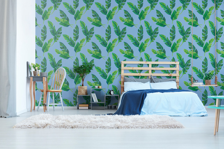 BEDROOM IN THE SHADE OF LEAVES Pixers Tropical style bedroom Multicolored