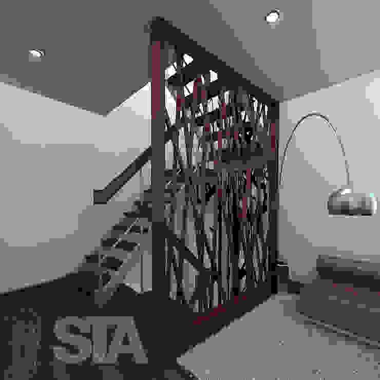 Separación mural - Escalera Pasillos, vestíbulos y escaleras modernos de Soluciones Técnicas y de Arquitectura Moderno