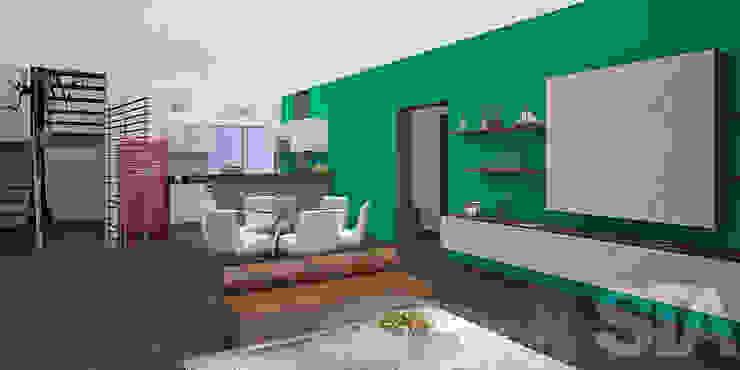 Sala - Comedor - Kichinet Salas modernas de Soluciones Técnicas y de Arquitectura Moderno