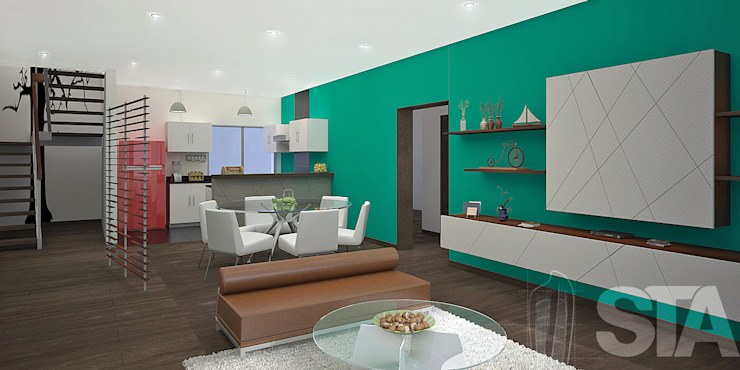 Sala - Comedor - Kichinet Modern Living Room by Soluciones Técnicas y de Arquitectura Modern