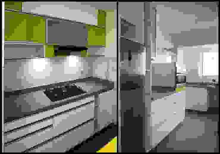 Dos Cocinas Pequeñas con gran personalidad Cocinas de estilo moderno de A3 Interiors Moderno Aglomerado