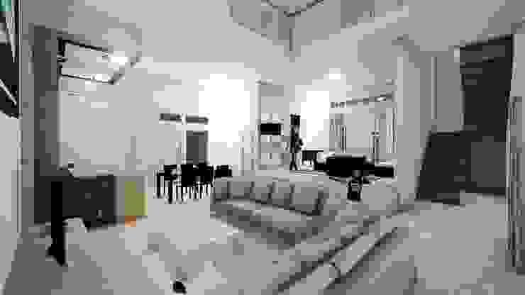 Interior BS House, Family Room Ruang Keluarga Minimalis Oleh Pr+ Architect Minimalis Beton Bertulang