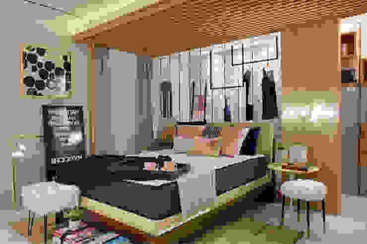 Vista geral dormitório casal Quartos escandinavos por ARQUITETURA - Camila Fleck Escandinavo