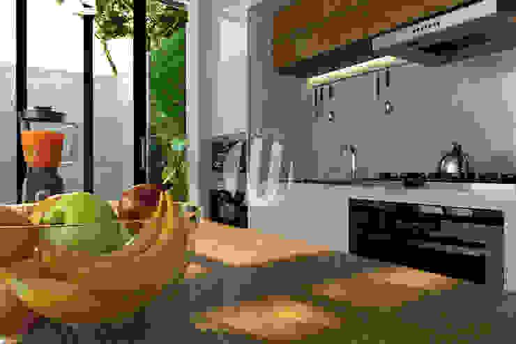 Dapur & Ruang Makan Oleh Maxima Studio Medan Interior Design & Arsitek Minimalis Kayu Wood effect