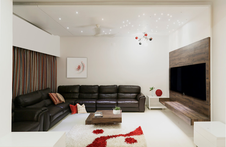 Single Family Private Residence, Ahmedabad Minimalist living room by A New Dimension Minimalist