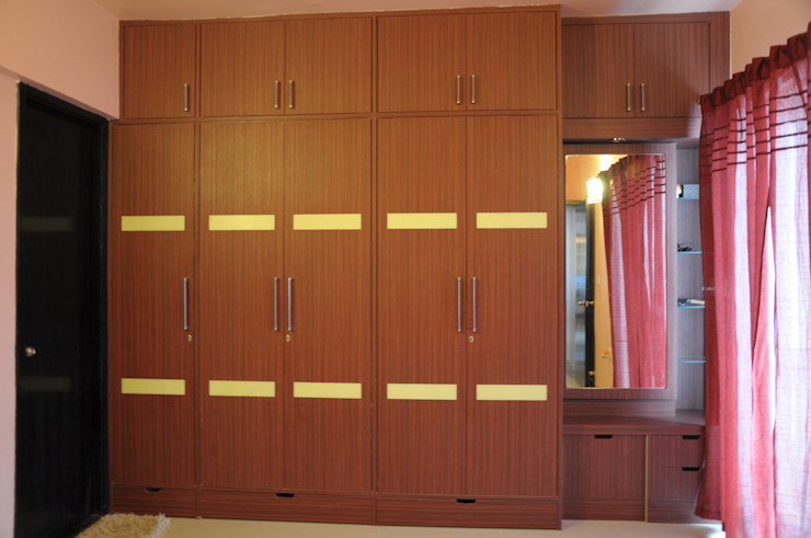 2 BHK APARTMENT INTERIORS IN BANGALORE Modern style bedroom by BENCHMARK DESIGNS Modern Plywood