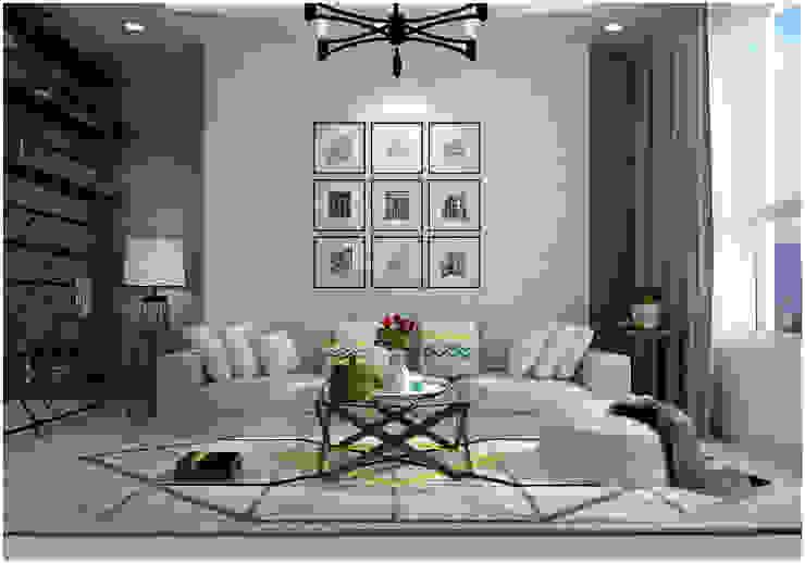 Living Room Phòng khách phong cách châu Á bởi Công ty TNHH TMDV Decor KT Châu Á