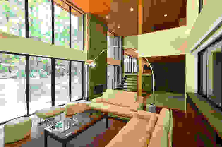 精進場川の家 モダンデザインの リビング の 鎌田建築設計室 モダン
