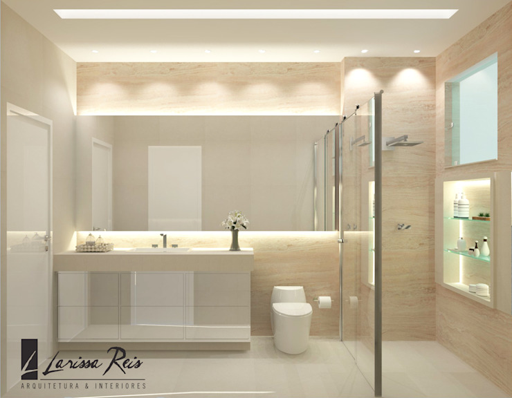 Baños de estilo  de LARISSA REIS ARQUITETURA, Moderno