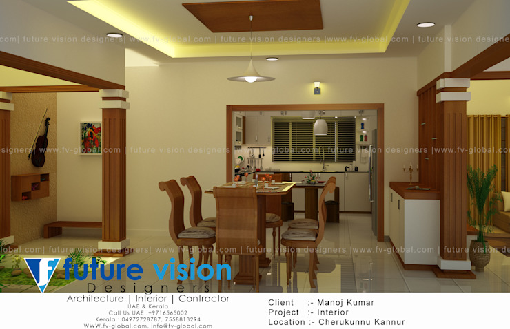 3d view of dining,kitchen and court yard by shabin
