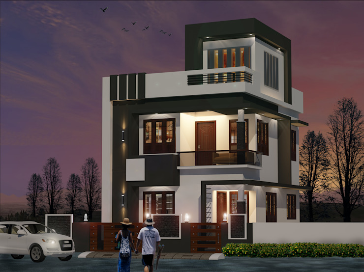 contemporary style villa in 2.8 cent by shabin Minimalist Reinforced concrete