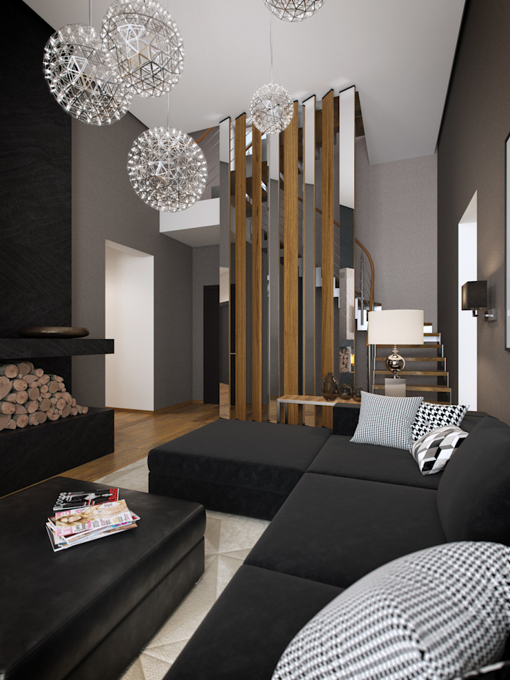 House in Zagorsk, Russia Salones modernos de EVGENY BELYAEV DESIGN Moderno