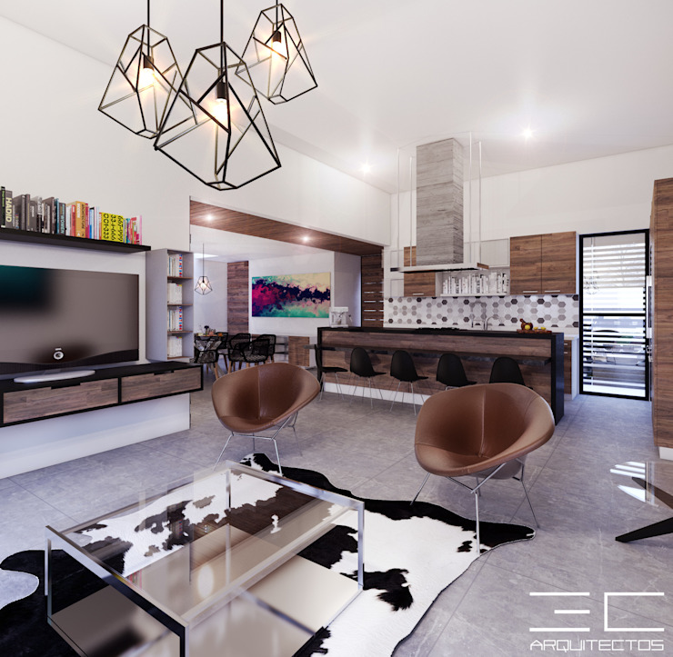 Residencia PC [León, Gto.]: Salas de estilo  por 3C Arquitectos S.A. de C.V., Moderno
