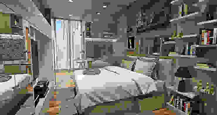 Minimalistyczna sypialnia od Multiline Design Minimalistyczny