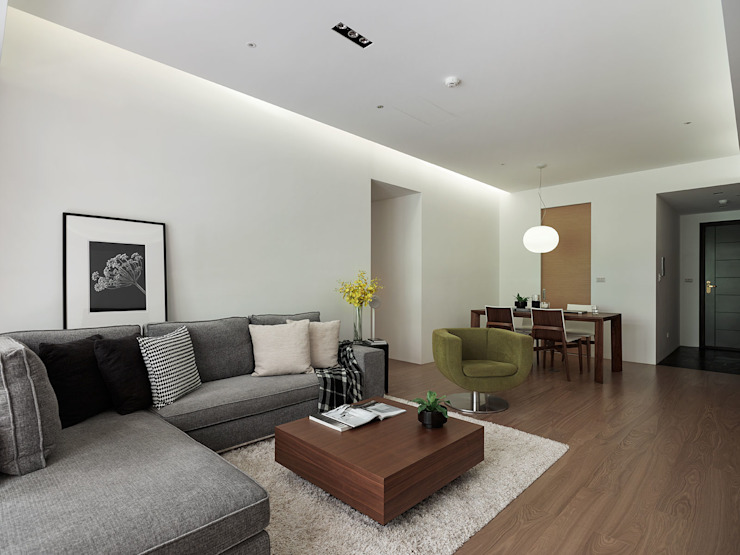 C宅_白。純 现代客厅設計點子、靈感 & 圖片 根據 沐禾設計事務所 現代風