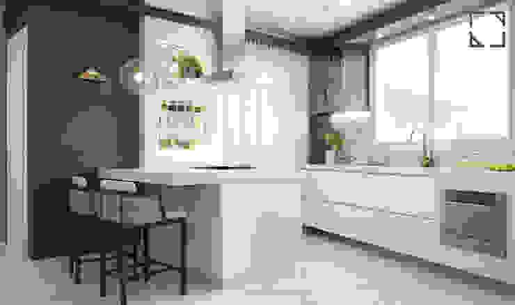 Cozinha Branca e Cinza por Rau Duarte Arquitetura Moderno Granito